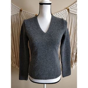 J. Crew Gray Wool Knit V-Neck Pullover Sweater XS